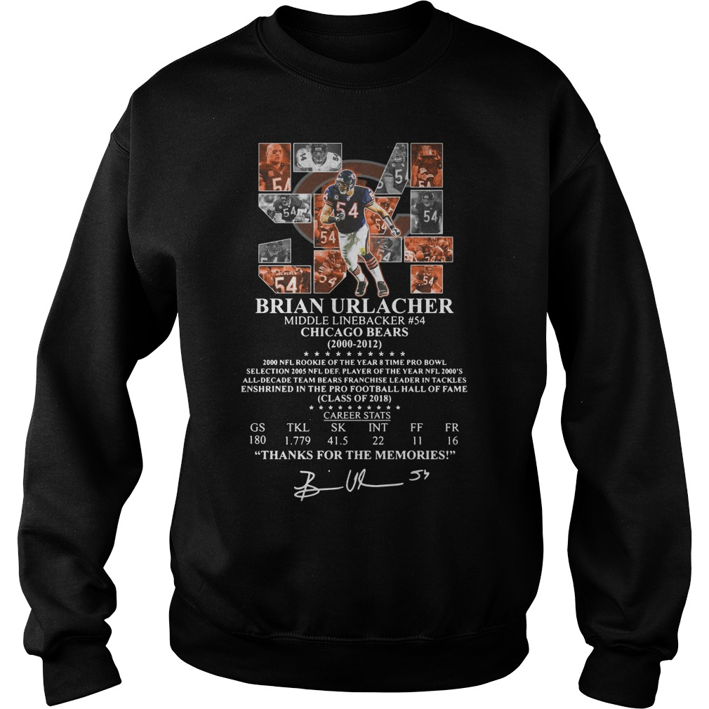 54 Brian Urlacher middle linebacker #54 chicago bears 200 2012 thank for the memories Sweatshirt
