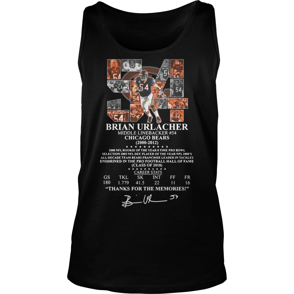 54 Brian Urlacher middle linebacker #54 chicago bears 200 2012 thank for the memories Tank Top