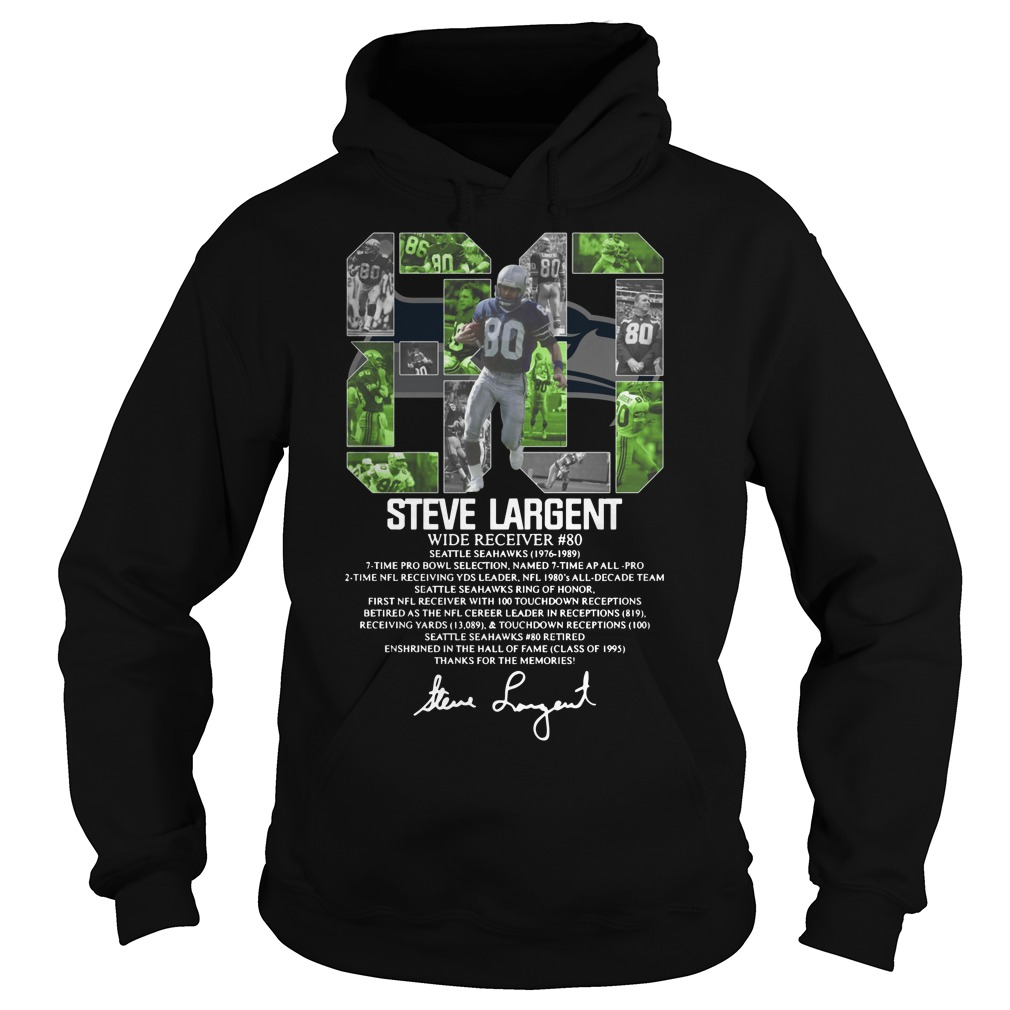 80 Steve Largent wide receiver signature Hoodie
