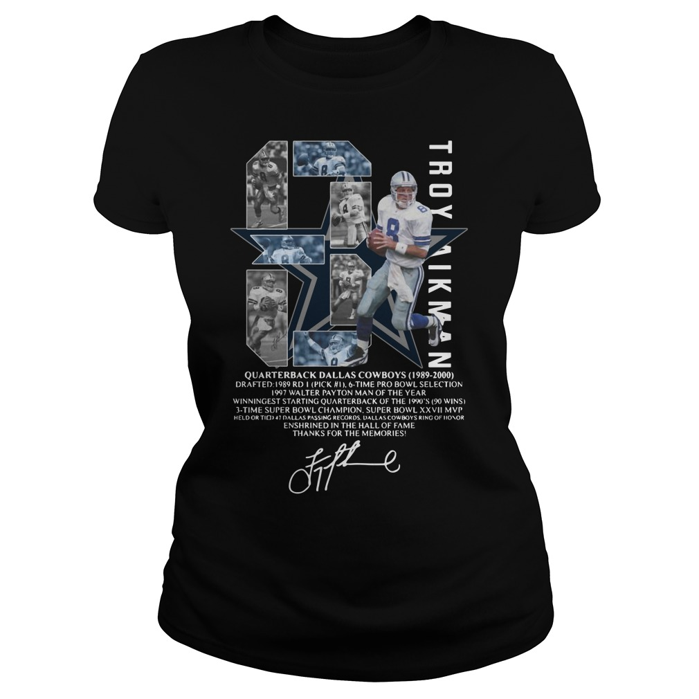 Troy Aikman 8 Quarterback Dallas Cowboys signature Ladies Tee
