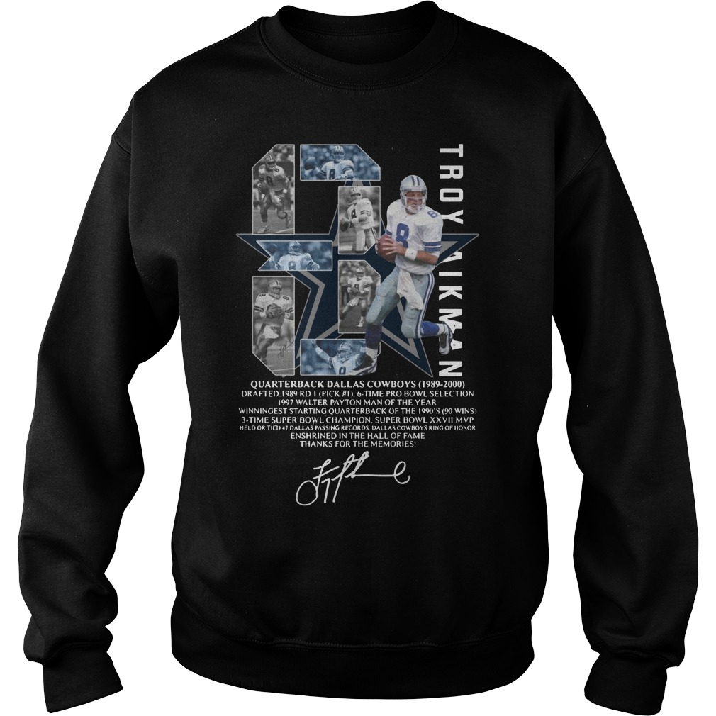 Troy Aikman 8 Quarterback Dallas Cowboys signature Sweatshirt