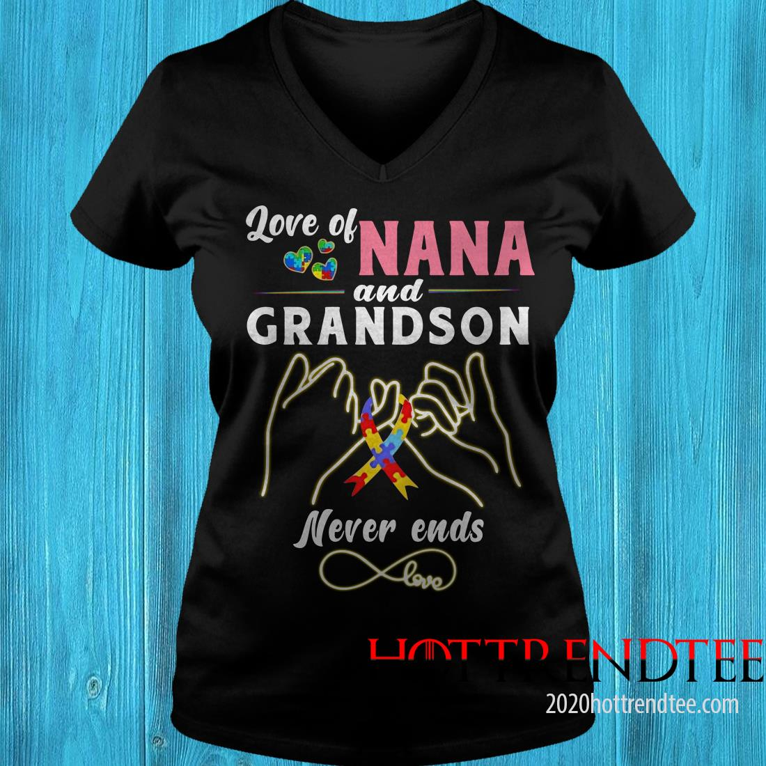 Love Of Nana And Grandson Never Ends Autism Shirt