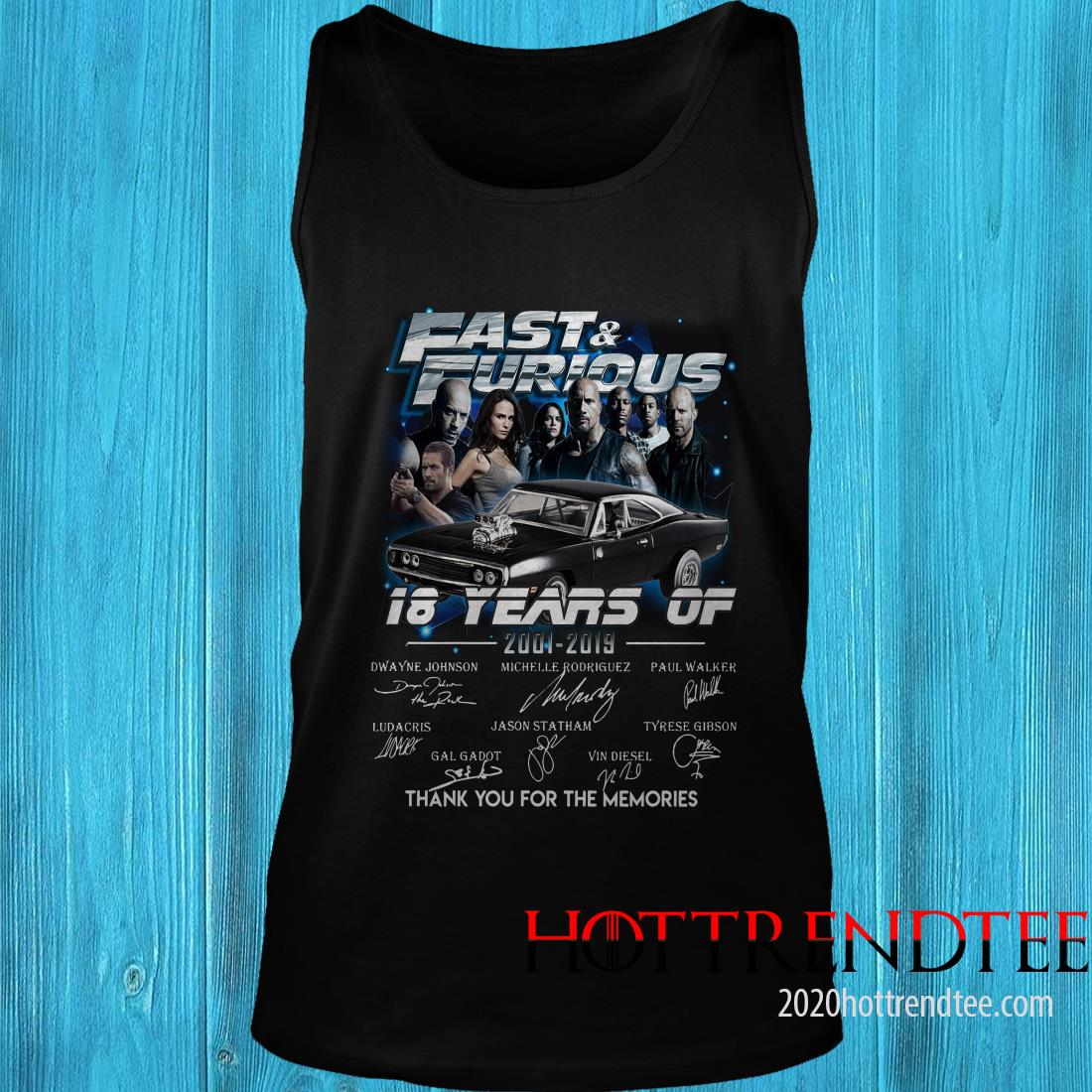 18 Years Of Fast And Furious 2001 2019 Thank You For The Memories Characters Signatures Shirt