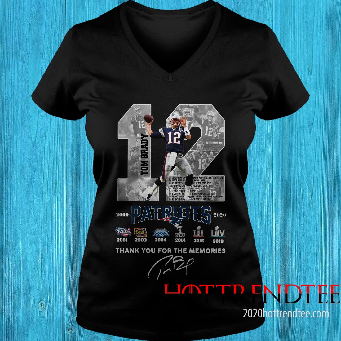 12 Tom Brady Patriots Thank You For The Memories Signature Women's T-Shirt