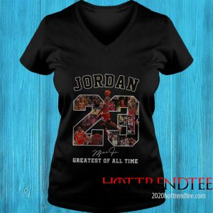 Official Jordan 23 Greatest Of All Time Signed Women's T-Shirt