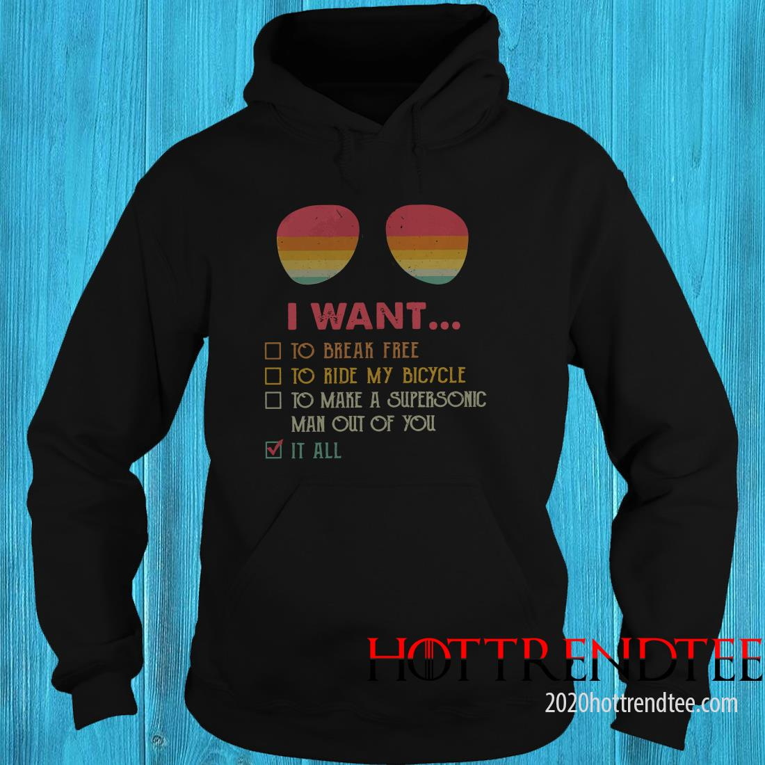 I Want To Break Free To Ride My Bicycle Glasses Vintage Version Hoodie