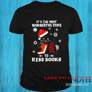 Black Cat It's The Most Wonderful Time To Read Books Shirt