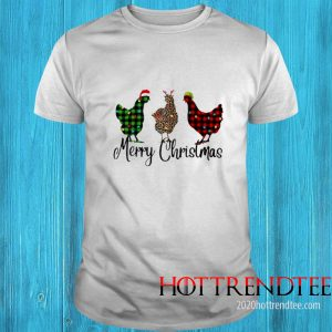 Santa Reindeer Elf Three Hens Merry Christmas Shirt