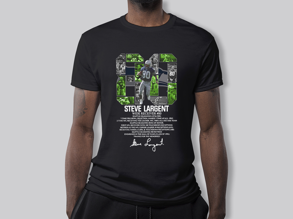 80 Steve Largent wide receiver signature shirt