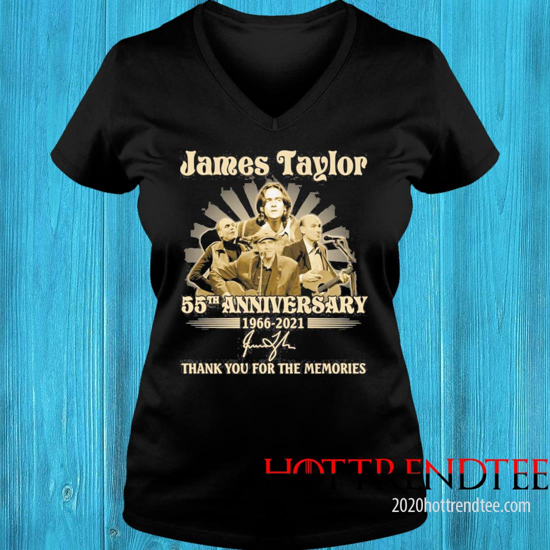 James Taylor 55th Anniversary 1966 2021 Signatures Thank You For The Memories Shirt v-neck tee