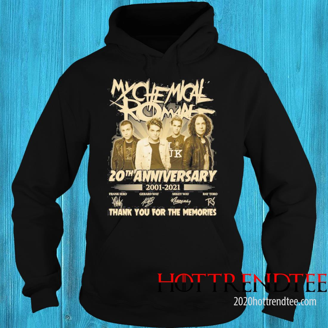 My Chemical Romance 20th Anniversary 2001 2021 Signatures Thank You For The Memories Shirt hoodie