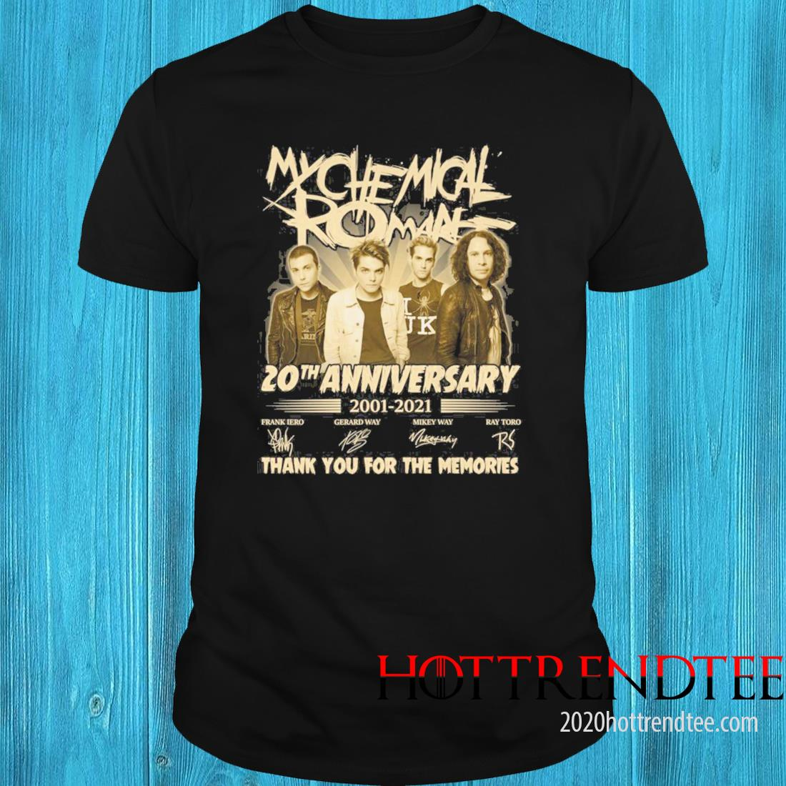 My Chemical Romance 20th Anniversary 2001 2021 Signatures Thank You For The Memories Shirt