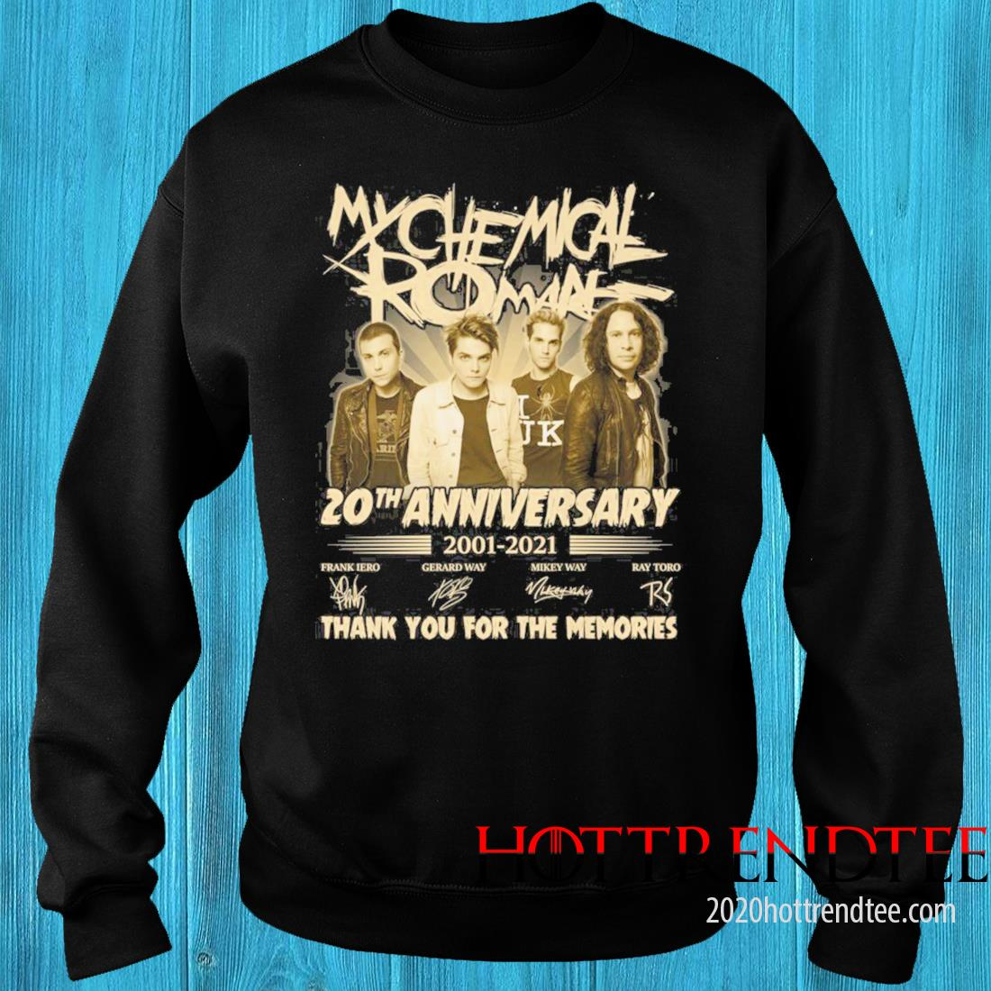 My Chemical Romance 20th Anniversary 2001 2021 Signatures Thank You For The Memories Shirt sweater