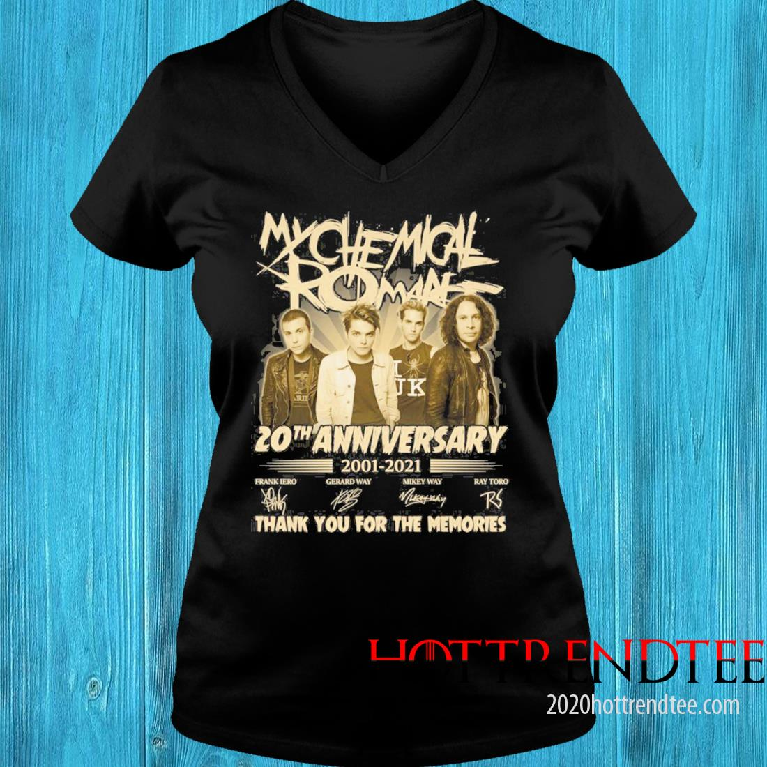 My Chemical Romance 20th Anniversary 2001 2021 Signatures Thank You For The Memories Shirt v-neck tee
