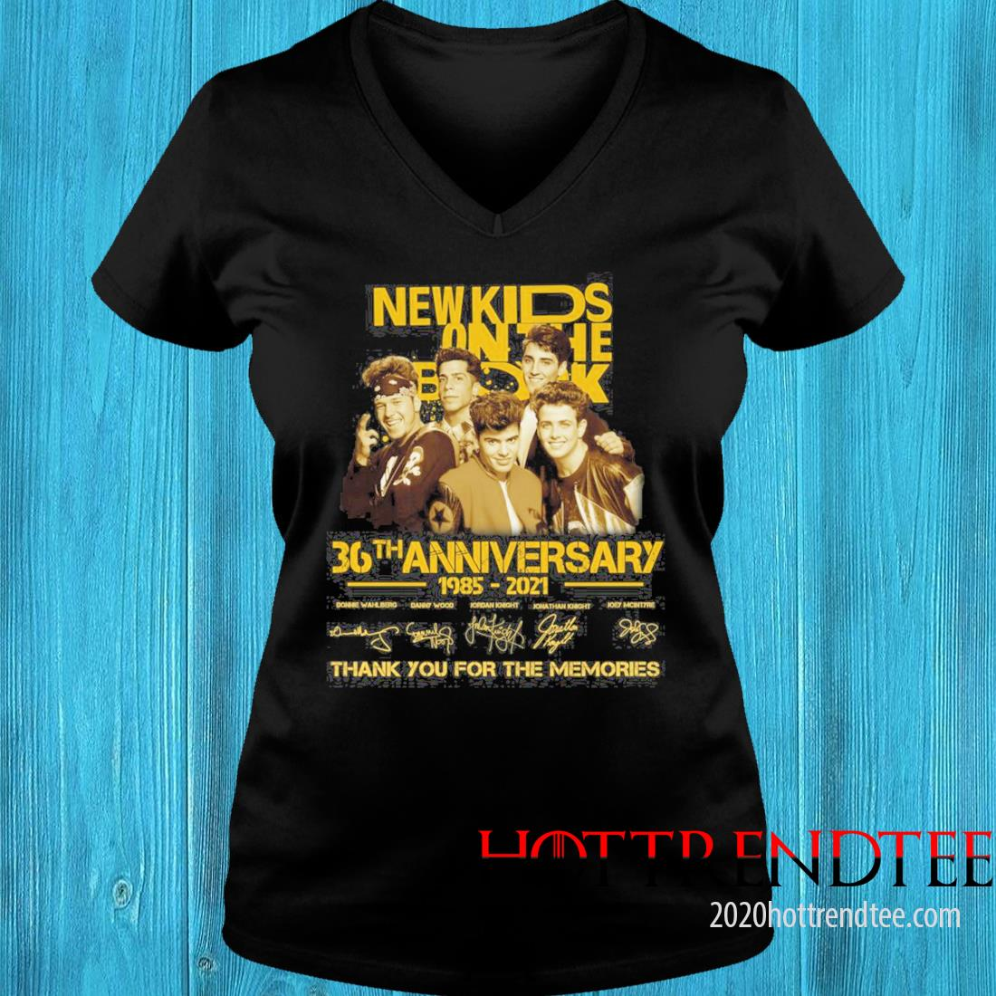New Kids On The Block 36th Anniversary 1985 2021 Signatures Thank You For The Memories Shirt v-neck tee