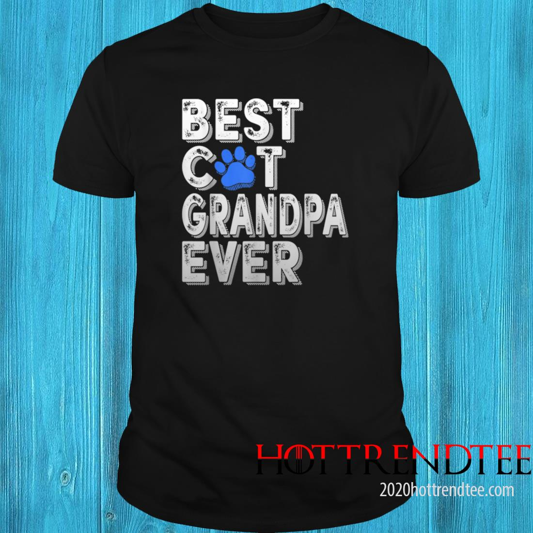 Men's Best Cat Grandpa Ever Tee Funny Family Father's Day Shirt